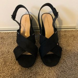 Who What Wear Faux Suede Sandal, Black, Sz 10
